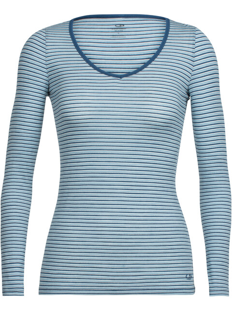 Icebreaker Siren LS Sweetheart Shirt Women waterfall/snow/stripe